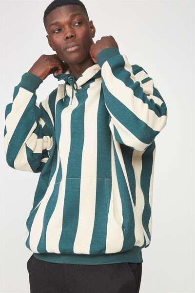Vertical Stripe Hoodie, JUNE BUG/BEIGE STRIPE