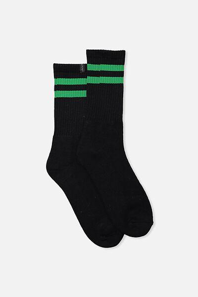 Retro Ribbed Socks, BLACK_GREEN STRIPE