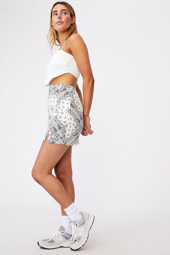 Double Split Mini Skirt, WHITE TRADITIONAL BANDANA