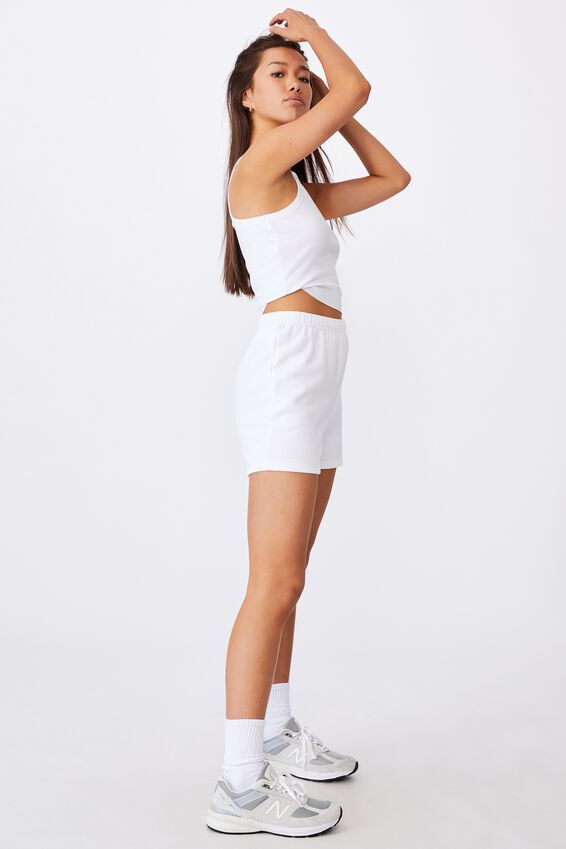 Super Slim Fitted Fleece Short, WHITE