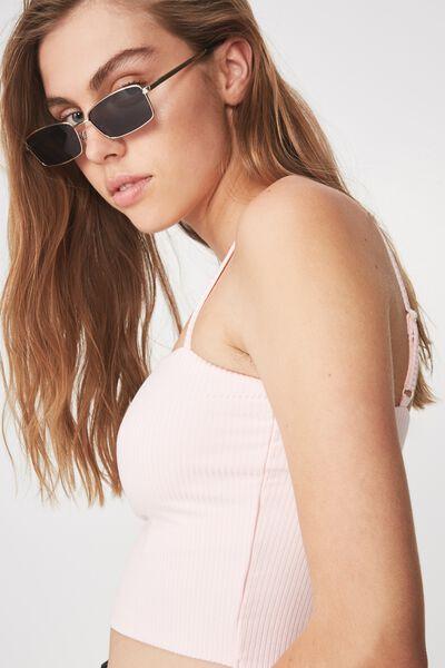 Micro Metal Square Sunglasses, S GOLD_SMK