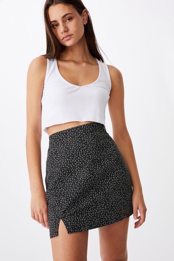 Double Split Mini Skirt, GRACIE FLORAL BLACK