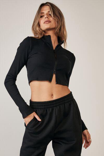 Double Zip Front Long Sleeve Cardi, BLACK