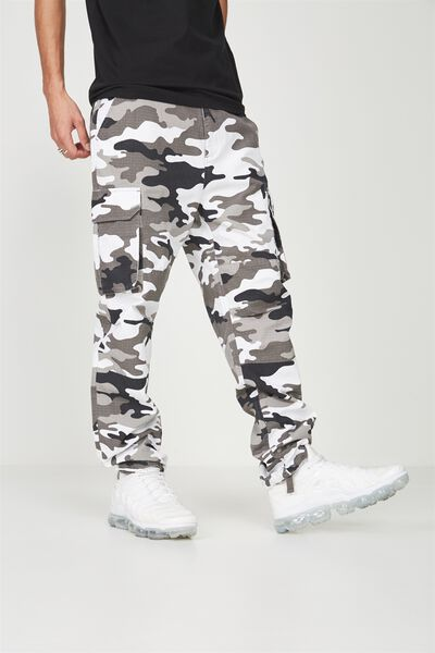 Straight Leg Cargo Pants, SNOW CAMO