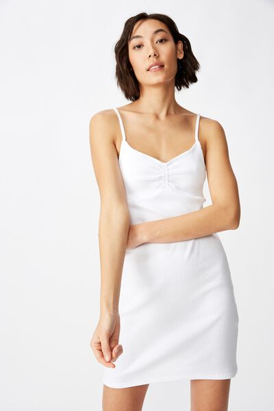 Ruched Front Strappy Dress, WHITE