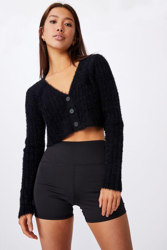 Fluffy Knit Super Crop Cardi, BLACK