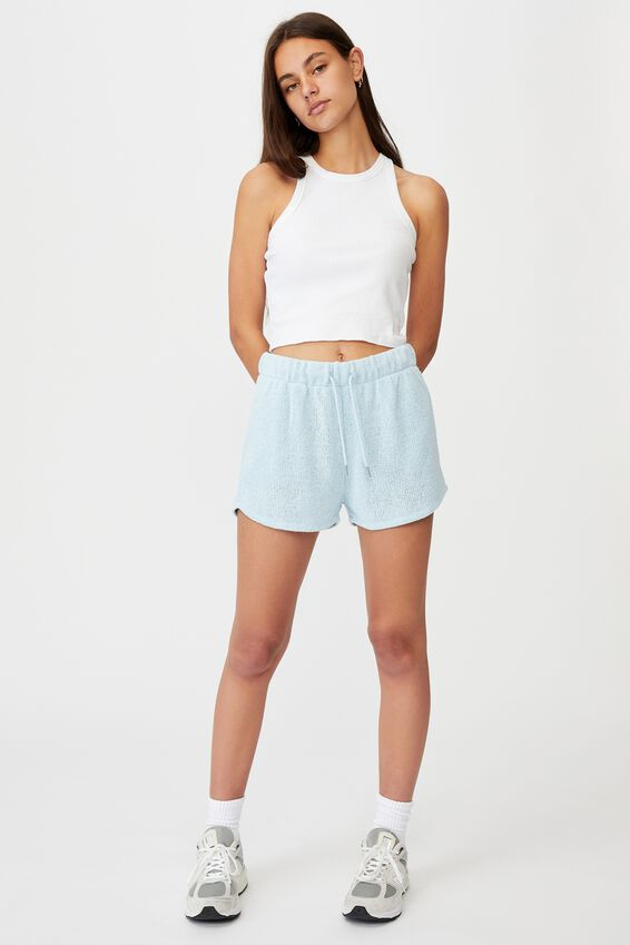 Textured Jersey Pull On Sporty Short, SKYWAY BLUE