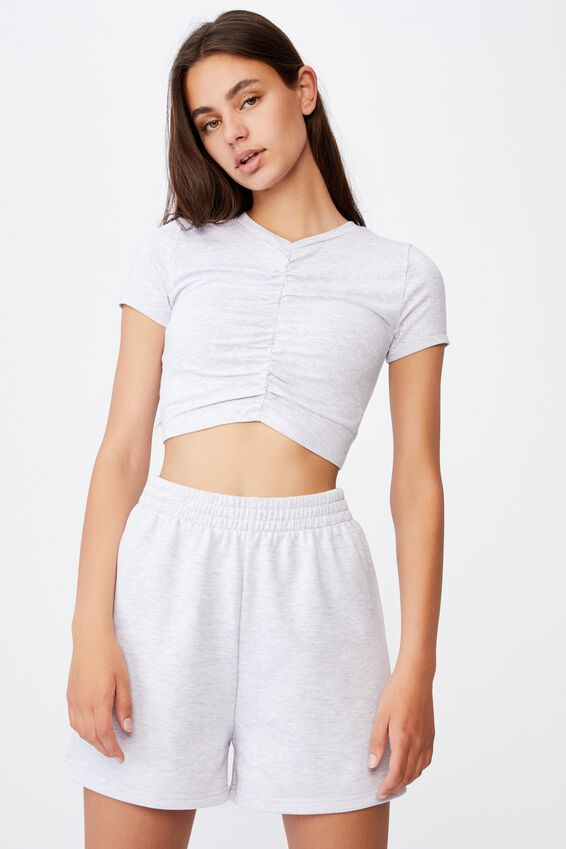 Cinch Front Short Sleeve Top, SILVER MARLE
