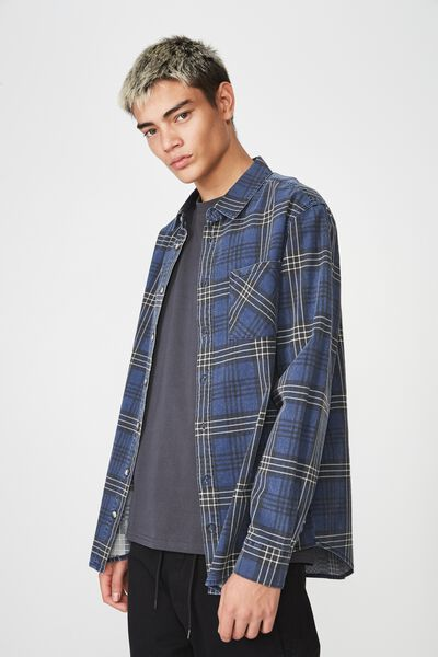 Long Sleeve Check Shirt, VINTAGE NAVY CHECK