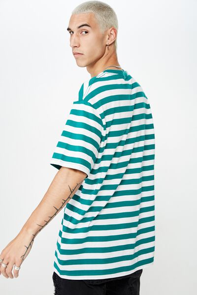 Stripe T Shirt, WHITE/ ALPINE GREEN STRIPE