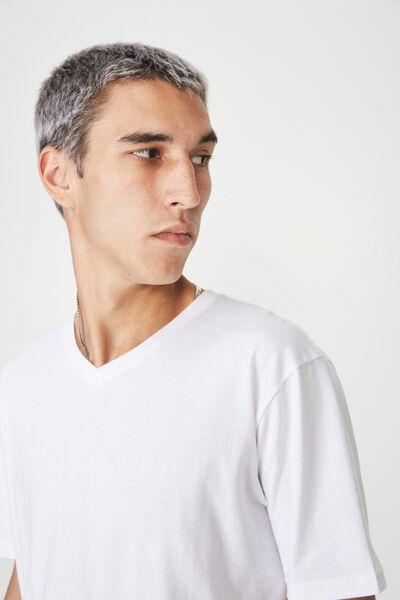 Slim V Neck T Shirt, WHITE