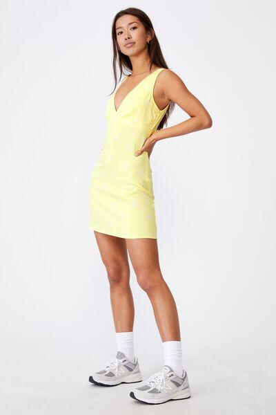 Deep V Mini Dress, THEA FLORAL LIMELIGHT