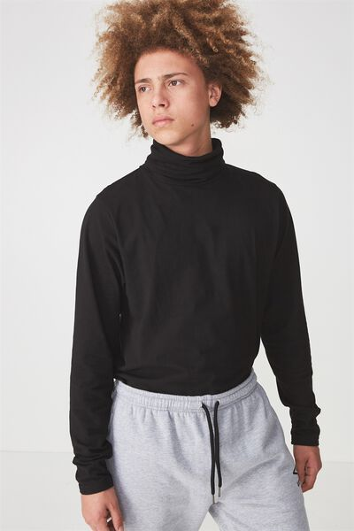 Funnel Neck Ls Tee, BLACK