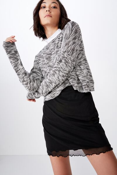 Mesh Skirt, BLACK