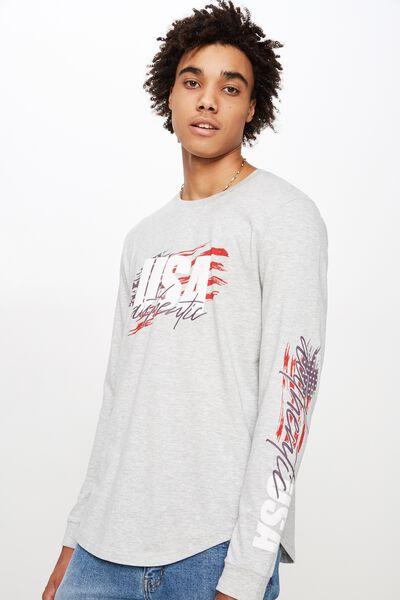 f4e785fae Curved Long Sleeve Graphic T Shirt, LIGHT GREY MARLE/USA