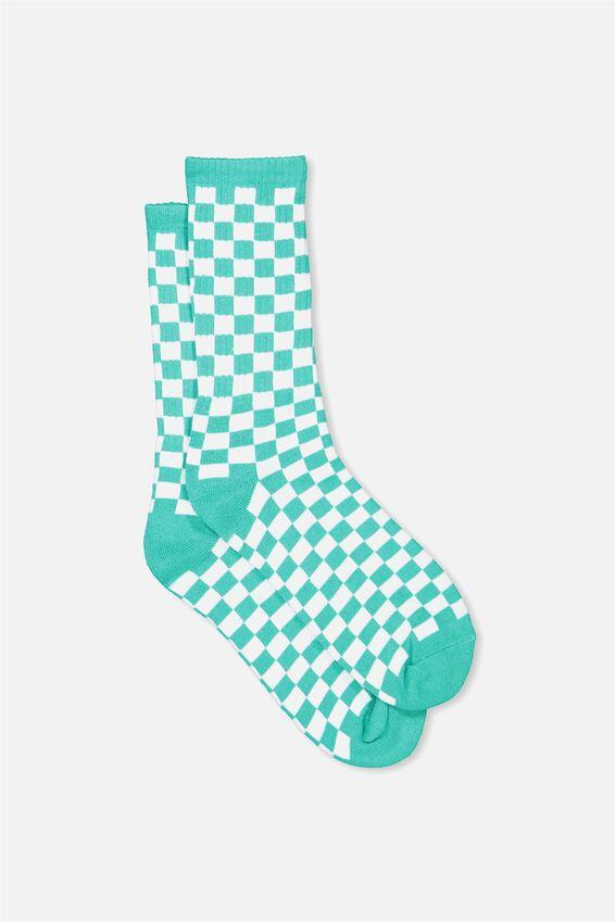 Retro Ribbed Socks, PEACOCK CHECKERS