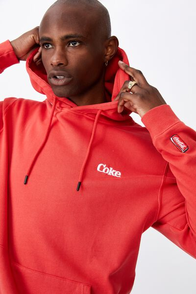 License Graphic Hoodie, LCN COK WASHED RED SMOKE /COKE