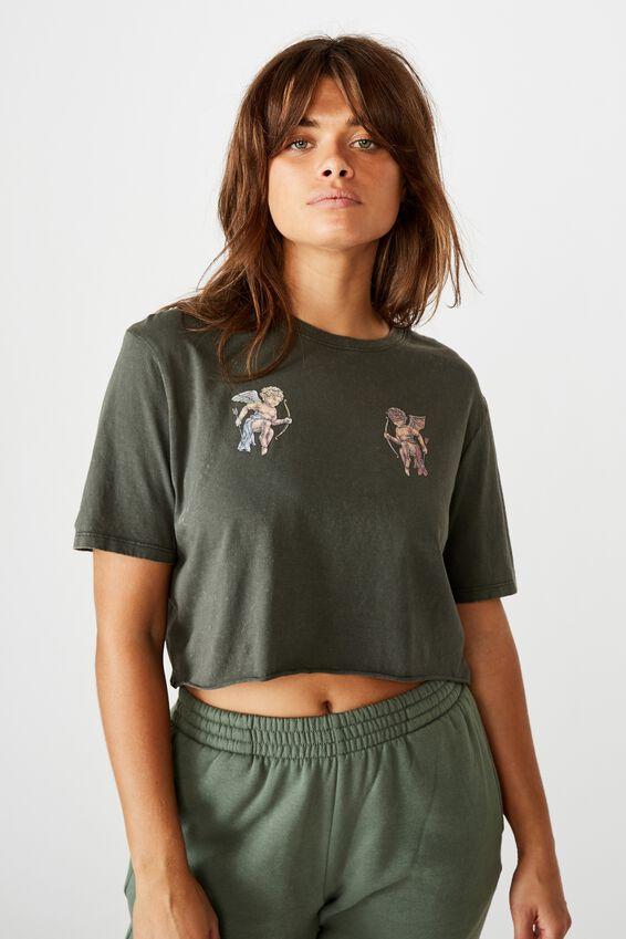 Short Sleeve Raw Edge Crop Graphic T Shirt, WASHED ASPHALT/ANGEL DEVIL
