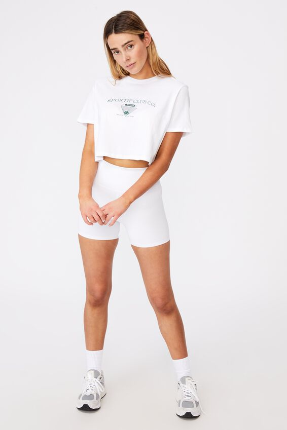 Short Sleeve Crop Graphic T Shirt, WHITE/SPORTIF CLUB