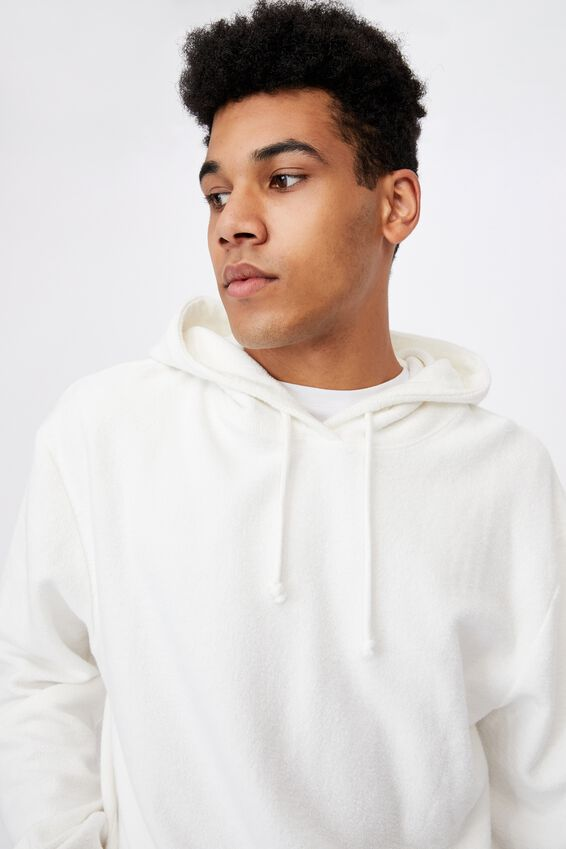 Reverse Fleece Hoodie, WHITE