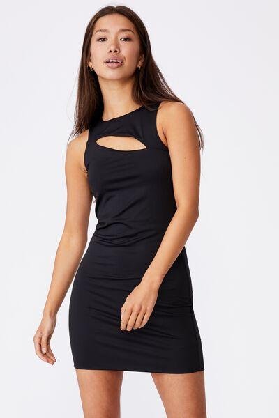 Cut Out Bodycon Dress, BLACK