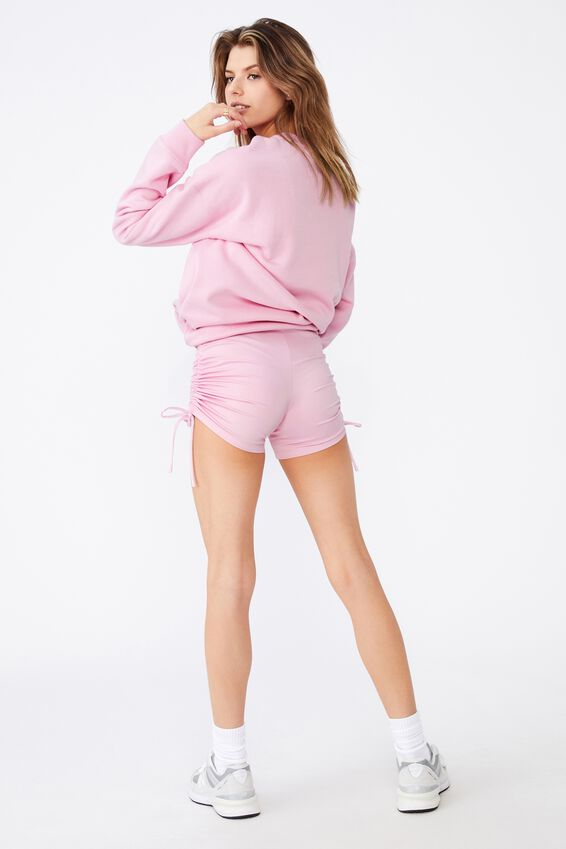 Ruched Side Cheeky Elevated Bike Short, BABE PINK