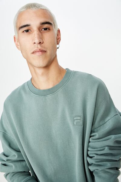 Fila Lcn Embroidered Oversized Crew, WASHED OLIVE