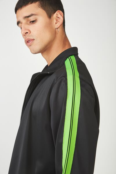 Tricot Zip Through Jacket, BLACK/GREEN