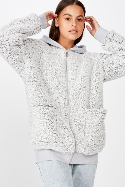 Plush Fleece Zip Thru Hoodie, GREY MARLE