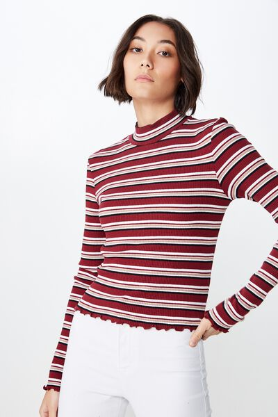7c633c6bdd2ac Stripe Rib Lettuce Edge Long Sleeve