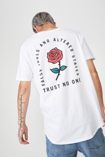 Curved Graphic T Shirt, WHITE/NO TRUST