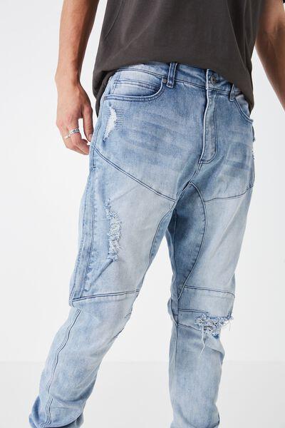 Slim Cuffed Denim Jeans, BLEACH BLUE
