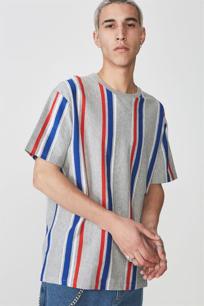 Ss Vertical Stripe T Shirt, GREY MARLE/MULTI STRIPE
