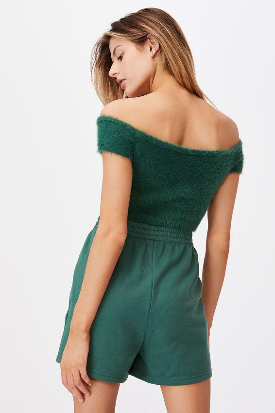 Fluffy Knit Off The Shoulder Top, HUNTER GREEN