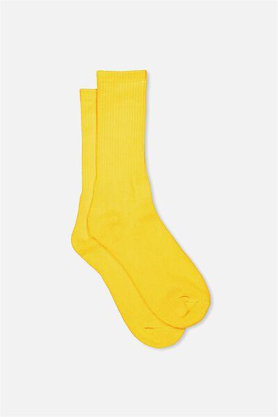 Retro Ribbed Socks, SLD YELLOW