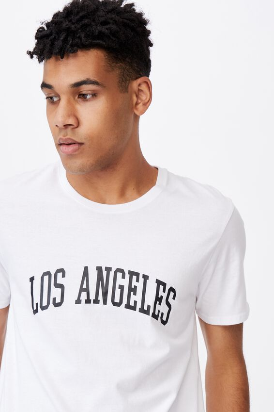 Curved Graphic T Shirt, WHITE/LOS ANGELES