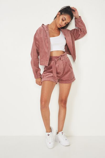Belted Cord Short, DUSTY PINK