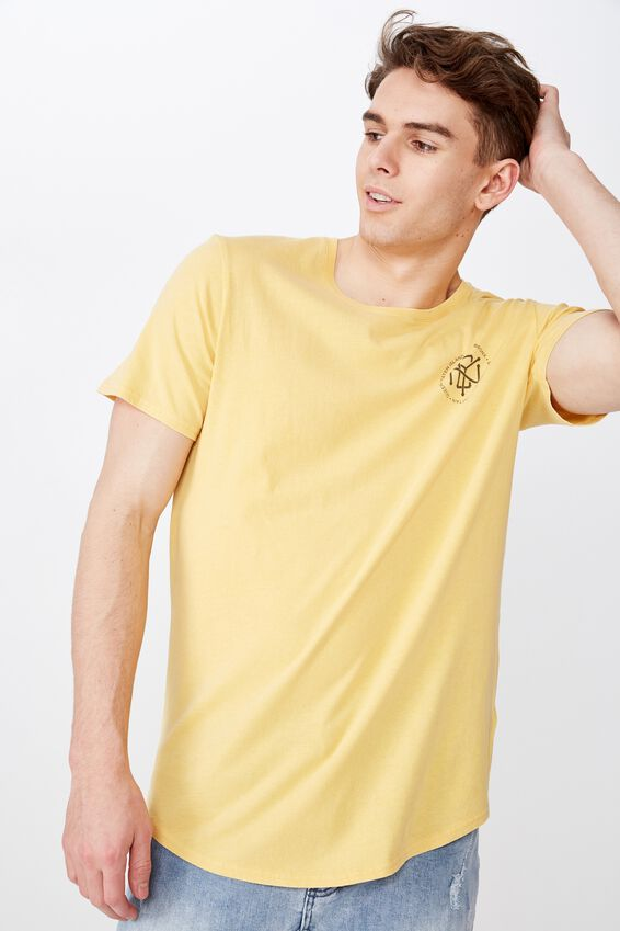 Curved Graphic T Shirt, WASHED YARROW/STAGGER