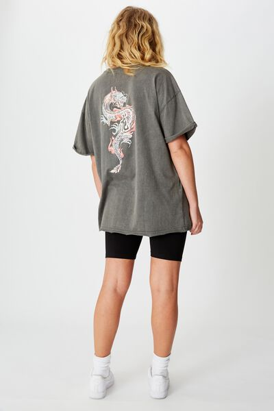 Oversized Graphic Tee, NOT YOURS DRAGON/WASHED ASPHALT