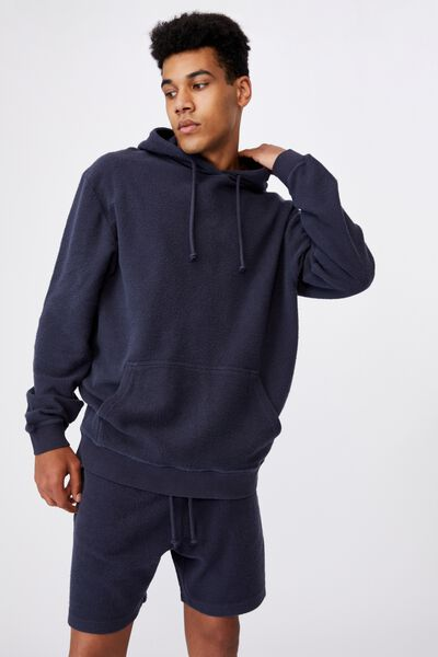 Reverse Fleece Hoodie, WASHED INDIGO