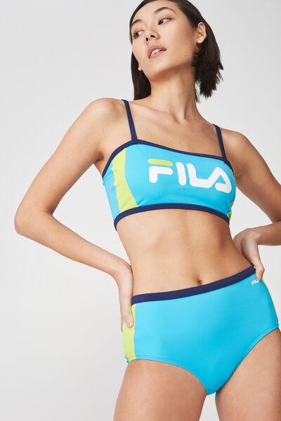 Fila Lcn Outline Side Panel Bandeau Bikini Top, TURQUOISE