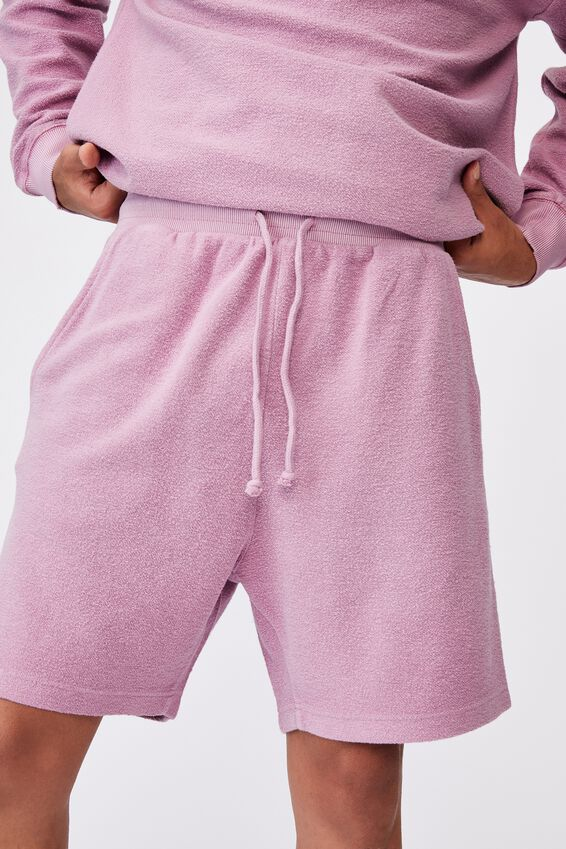 Reverse Fleece Track Short, WASHED FUSCHIA