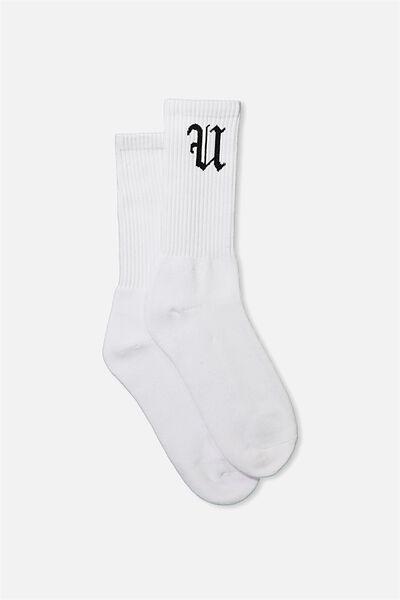 Retro Ribbed Socks, WHITE FU