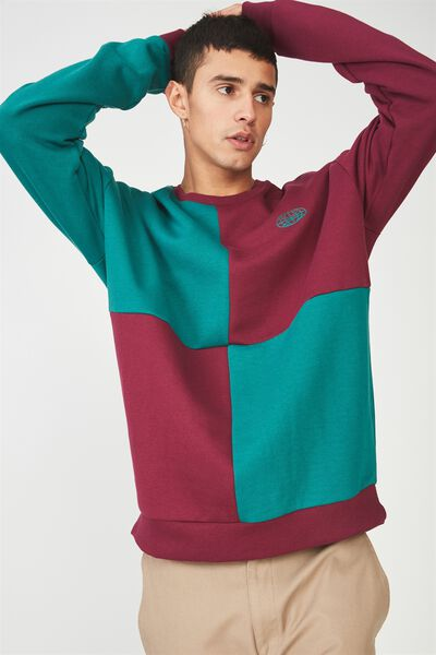 Oversized Graphic Crew, MERLOT/GREEN/VICE CHECK