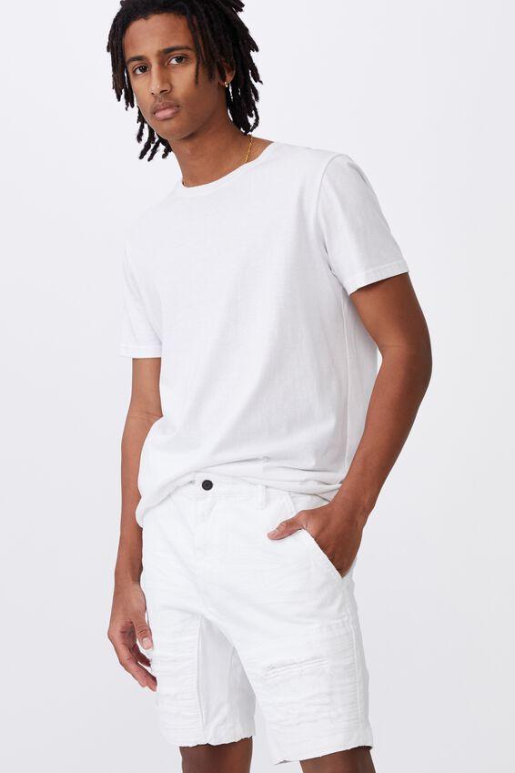 Semi Moto Denim Short, WHITE