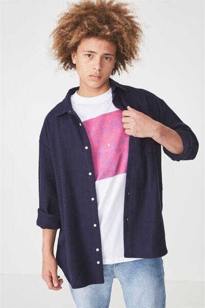 Long Sleeve Flannel Shirt, NAVY