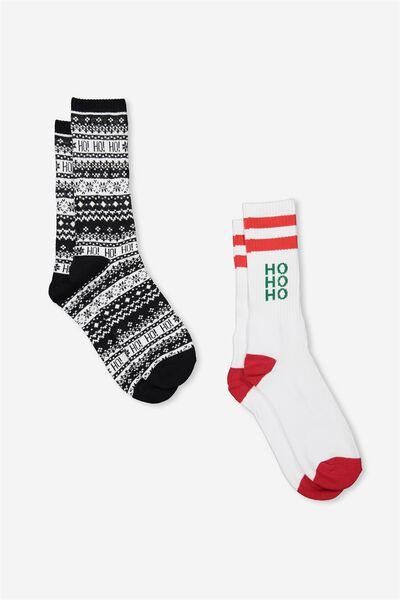 2Pk Xmas Socks, BLACK WHITE_WHITE HO