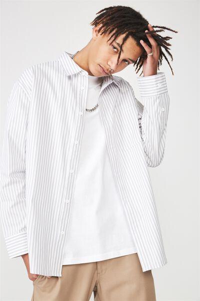 Long Sleeve Oversized Shirt, WHITE/GREY STRIPE
