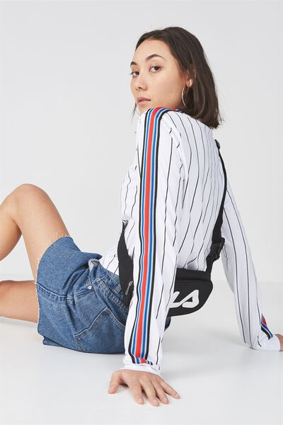 90S Crop Ls Cuffed 2, WHITE/ BLK PINSTRIPE WITH TAPE