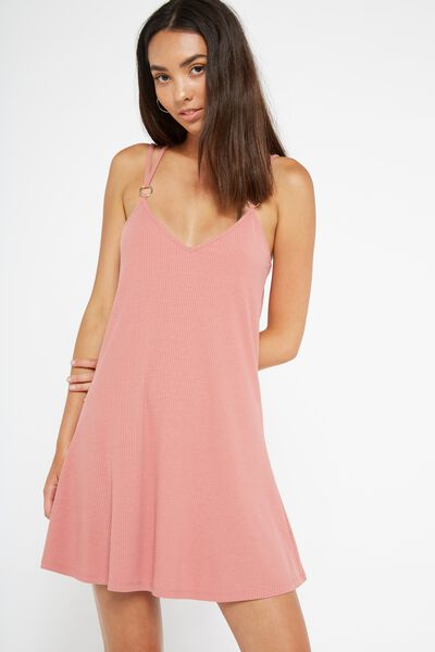 Rib Slip Dress, DUSTY ROSE